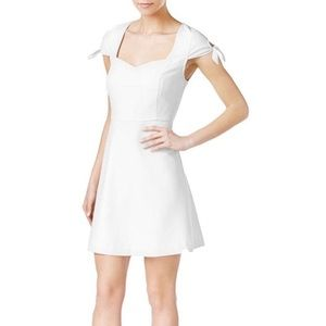 Kensie Tie-Sleeve Fit-Flare White Dress
